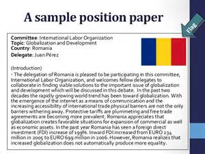 Mun Position Paper Template by Position Paper