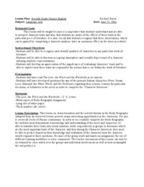 body biography lesson plan body biography the lion the witch and the wardrobe 7th