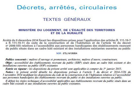 Plan Incliné Pour Handicapé by Arr 234 T 233 Accessibilit 233 Du 8 D 233 Cembre 2014 Les Ad Ap
