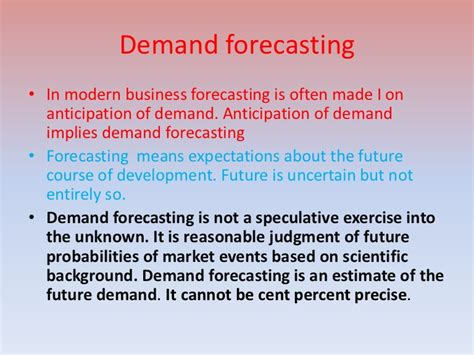Objectives Of Demand Forecasting Mba by Demand Forecasting
