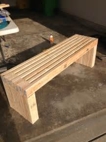simple idea of long diy patio bench concept made of wooden material in natural color with strong