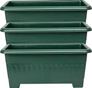 set of 3 38cm green plastic rectangular garden planters