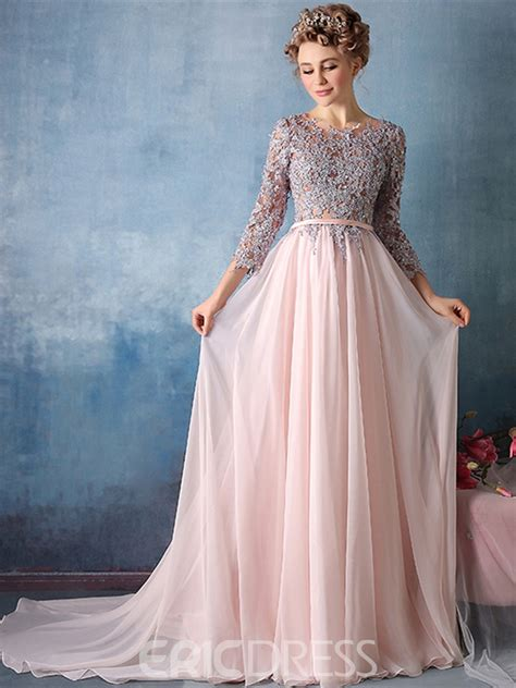Sleeve A Line Evening Gown ericdress 3 4 sleeve applique chiffon a line evening