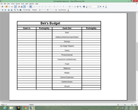 fortnightly budget template budget fortnightly budget form