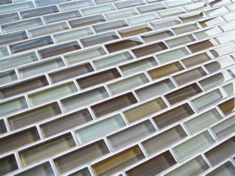 Beige Brown Warm Cool Glass Subway Mosaic Tile Kitchen Glass Tile Backsplash