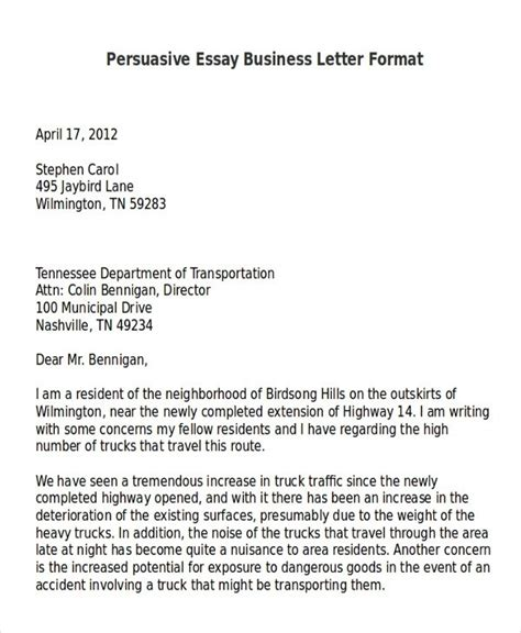 business persuasive letter letter of recommendation