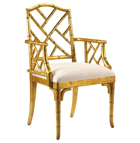 gold armchair chinese chippendale hollywood regency gold bamboo dining