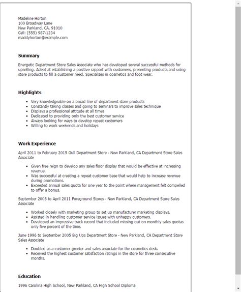 Department Store Sales Associate Sle Resume by Professional Department Store Sales Associate Templates To Showcase Your Talent Myperfectresume