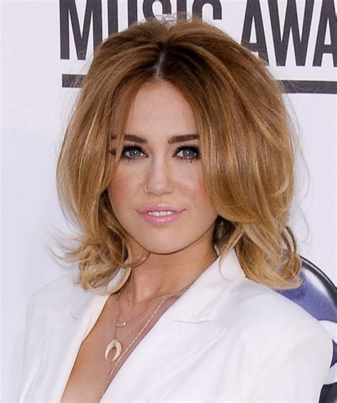 shoulderlength volume haircut miley cyrus medium straight formal bob hairstyle light