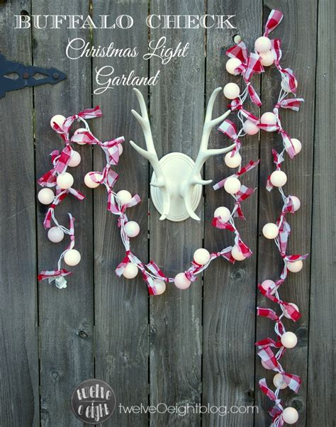 red white buffalo check christmas light garland
