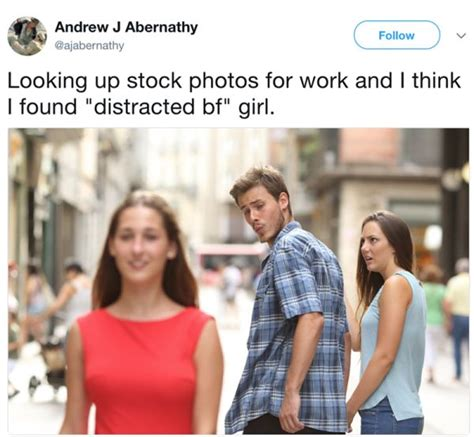 Boyfriend Meme - the distracted boyfriend meme has a fascinating stock