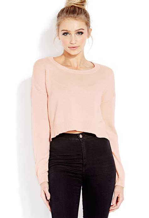 cropped sweater forever 21 drop sleeve cropped sweater in pink blush lyst