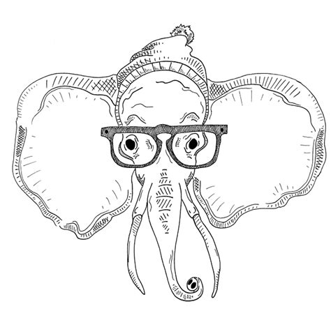 hipster elephant coloring page hipster elephant we heart it elephant drawing and