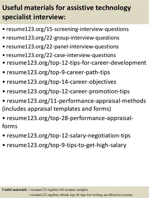 Assistive Technology Specialist Sle Resume by Top 8 Assistive Technology Specialist Resume Sles