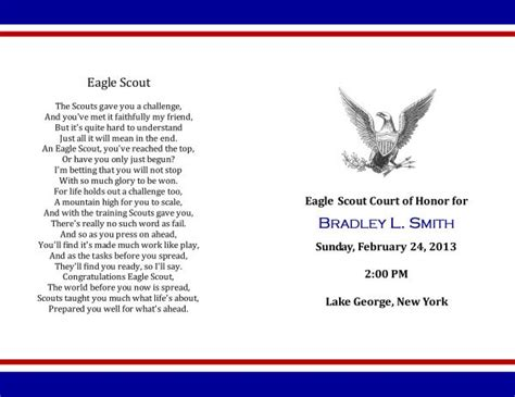 eagle scout court of honor program template eagle court of honor program images