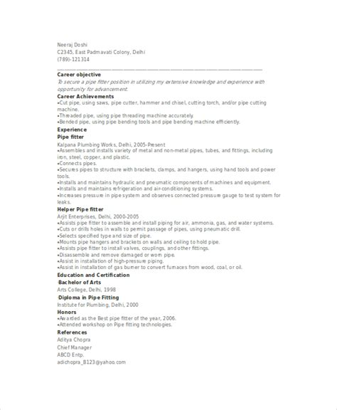 Pipefitter Resume Sle by Industrial Pipefitter Resume Sle Resume Cover Letter Pipefitter Resume Sles Free Excel