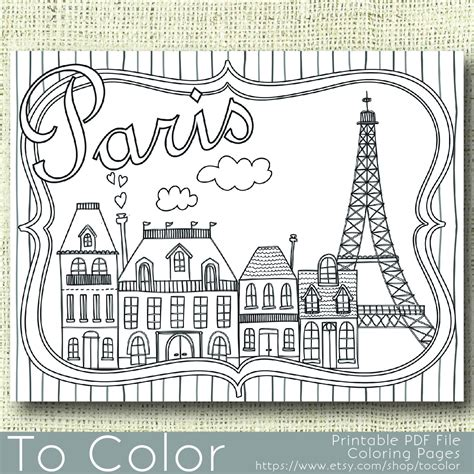 printable paris coloring page for adults pdf jpg instant