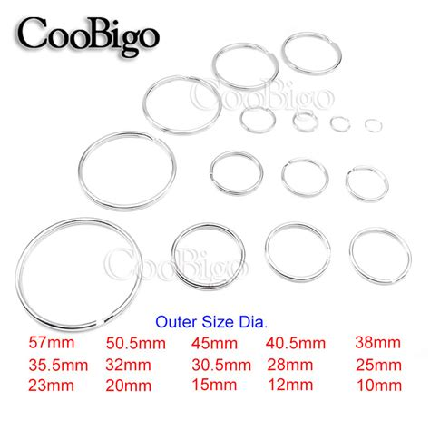 Outer Size 5pcs 15 sizes 10mm 57mm outer diameter normal key rings key chain split o rings silver bag toys