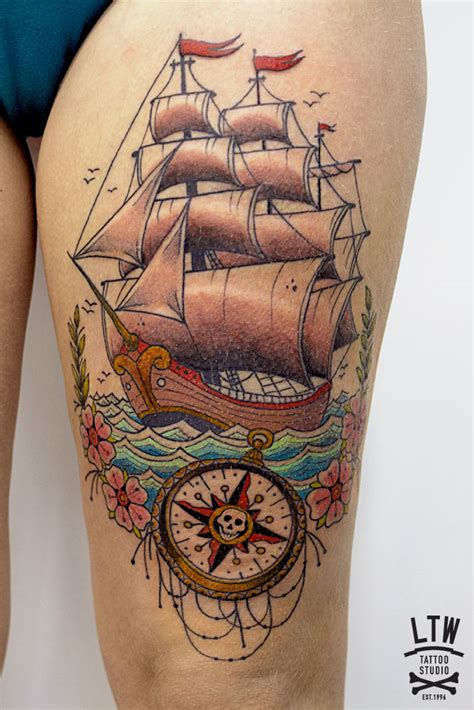 tattoo old school barco barco por cisco