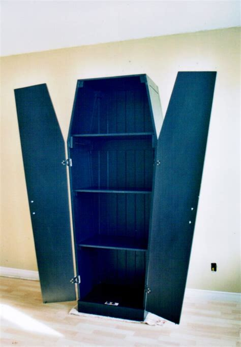 coffin shaped armoire commission project decorating