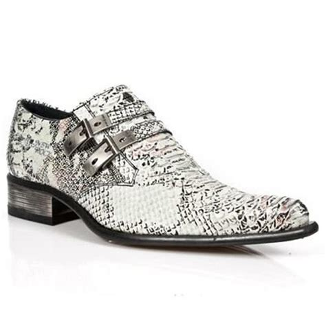 Rock Shoes Store New Rock Shoes Snakeskin Style M2246 S11 White Blue