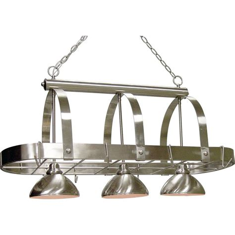 Kitchen Pot Rack With Lights Volume Lighting 3 Light Brushed Nickel Pot Rack Pendant V3023 33 The Home Depot