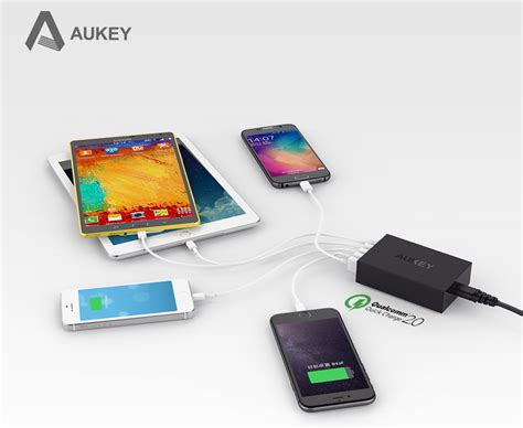 Aukey 36w Travel Size Fast Rapid Usb Wall Charger Dual Port Eu P aukey charger usb 5 port eu 54w with qc 2 0 aipower pa t1 black jakartanotebook