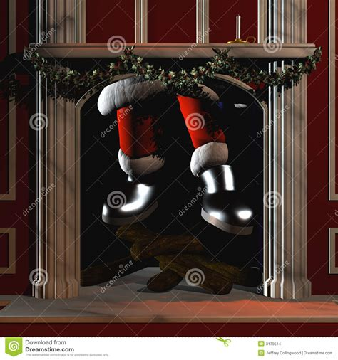 santa going down chimney 5 stock illustration image of