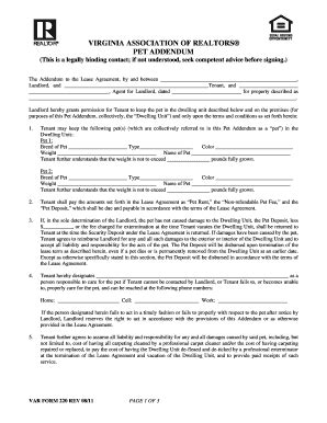 Lease Addendum Form Rental Agreement And Condition Of Premises Landlord Forms Real Estate Forms Pet Addendum Template