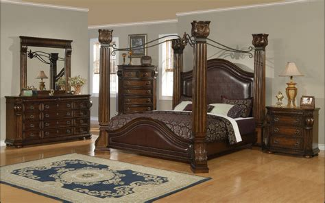 canopy bedroom sets providence traditional poster canopy 5pc bedroom set cherry king avail ebay