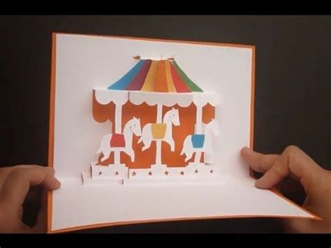 merry go template merry go carousel pop up card tutorial origamic