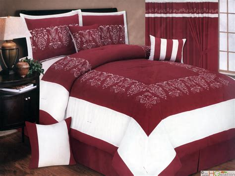 red damask comforter set 7 pc flocking floral damask embroidery microfiber