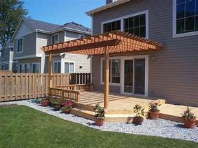 How To Attach Pergola To Deck by Pergola Attached To House Over Part Of Deck Our Yard