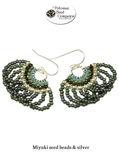 the potomac bead company scalloped brick stitch earrings from the potomac bead