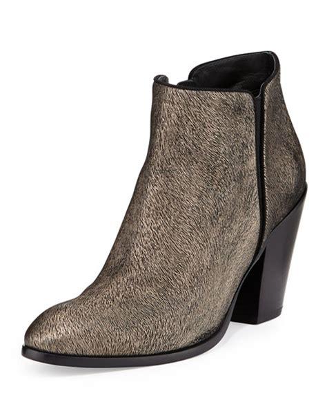 Metallic Giuseppe Zanotti Boot by Giuseppe Zanotti Metallic Textured Ankle Boot Black Gold