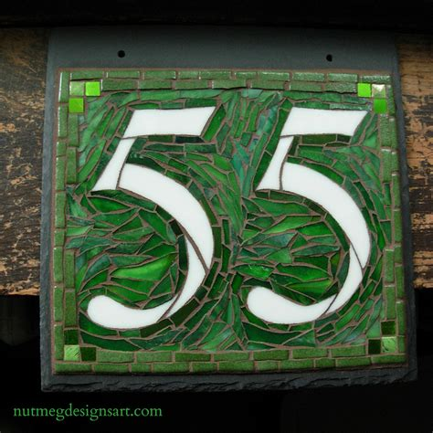 mosaic house number designs wordless wednesday mosaic house number 55 in greens by nutmeg designs nutmeg