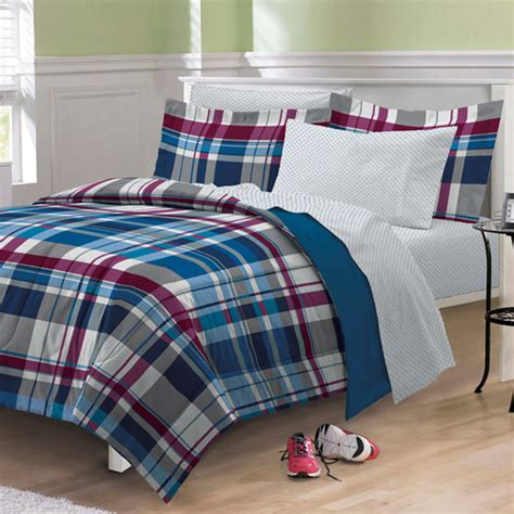 plaid bedding set my room varsity plaid bed set walmart com