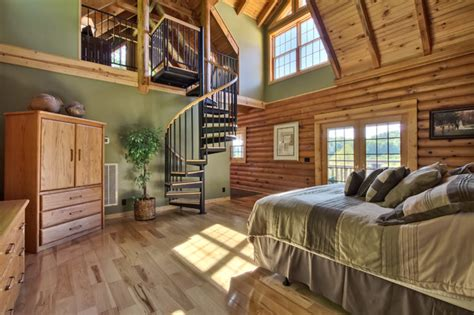 Two Story Master Suite | two story log cabin master suite rustic nashville by