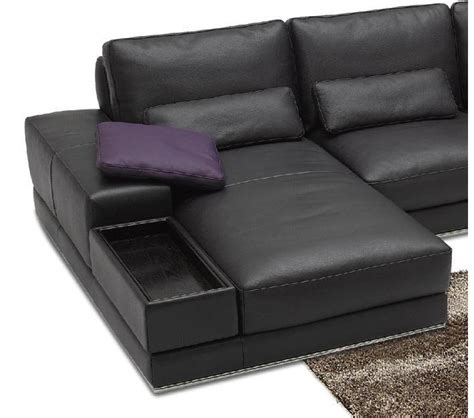Contemporary Leather Sectional Sofa Dreamfurniture 942 Contemporary Italian Leather Sectional Sofa
