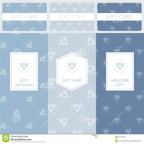 Diamond Gift Card - set of diamond pattern elements branding and packaging design for gift cards and