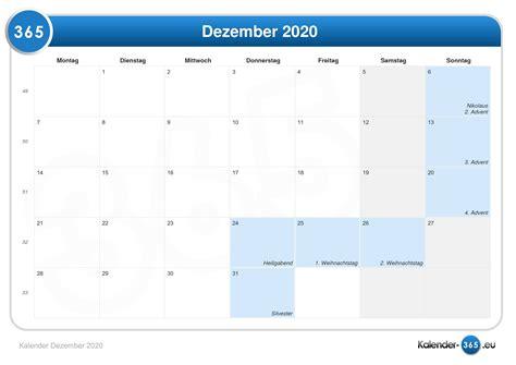 Kalender Dezember Kalender Dezember 2020