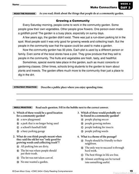 reading comprehension test for grade 7 with answers daily reading comprehension grade 4 answers 10 free