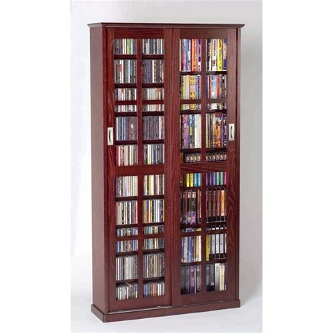 cd storage cabinet with sliding doors 62 quot sliding door inlaid glass media cabinet in dark cherry