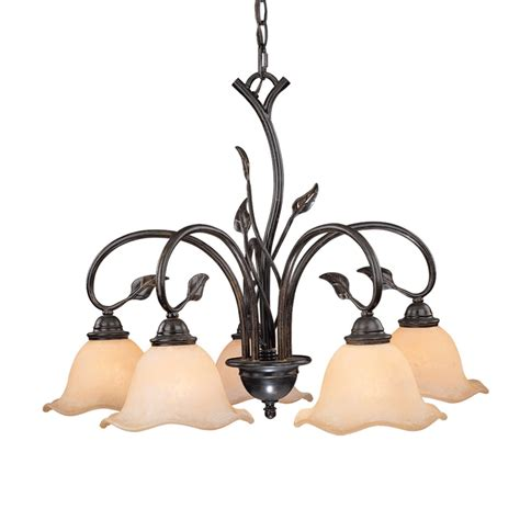 Vine Chandelier Shop Cascadia Lighting Vine 25 In 5 Light Shale Rustic Tinted Glass Shaded Chandelier At