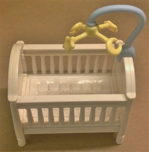 Fisher Price Baby Crib Fisher Price Loving Family Dollhouse Baby Boy Blue Bassinet Crib Mobile Ebay
