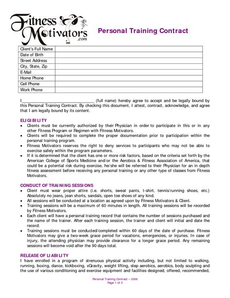 personal trainer contract templates personal contract agreement dexmedia co