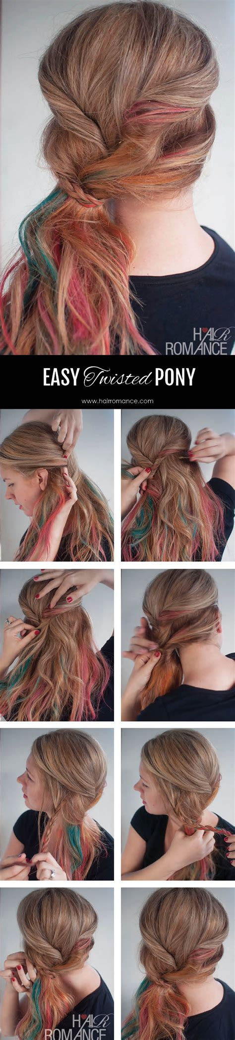 how to tie a twisted pony tail step by step easy twisted ponytail hairstyle tutorial no hair ties