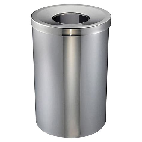 genuine joe 30 gal stainless steel open top trash