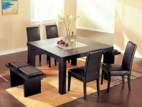 High End Kitchen Tables High End Sqaure Wood And Frosted Glass Top Leather 5 Pc Kitchen Set Modern Dining Tables
