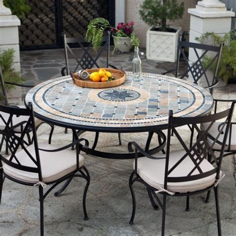 6 Seat Patio Table And Chairs Palazetto Barcelona 60 In Mosaic Patio Dining Set Seats 6 Contemporary Patio
